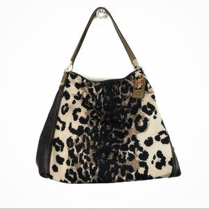 coach • phoebe madison leopard animal print bag
